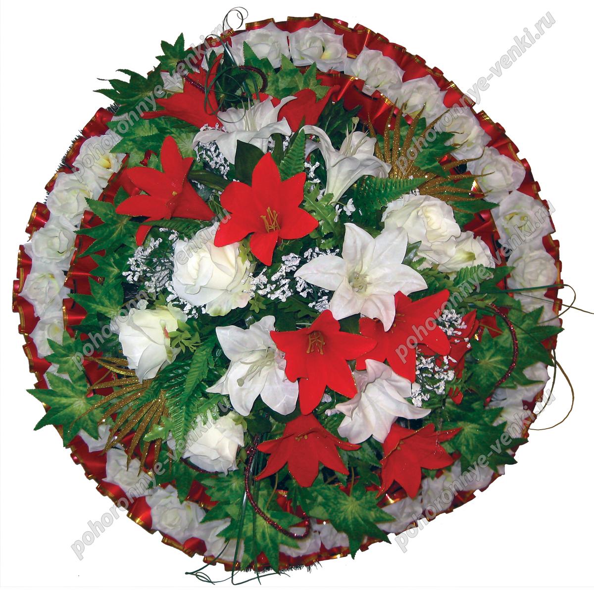Ритуальные венки круглые из искусственных цветов